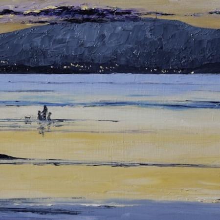 Mel-Andrewartha-A-Dogwalkers_Sunset-Beach-2018_Mel-Andrewartha_oil-on-board