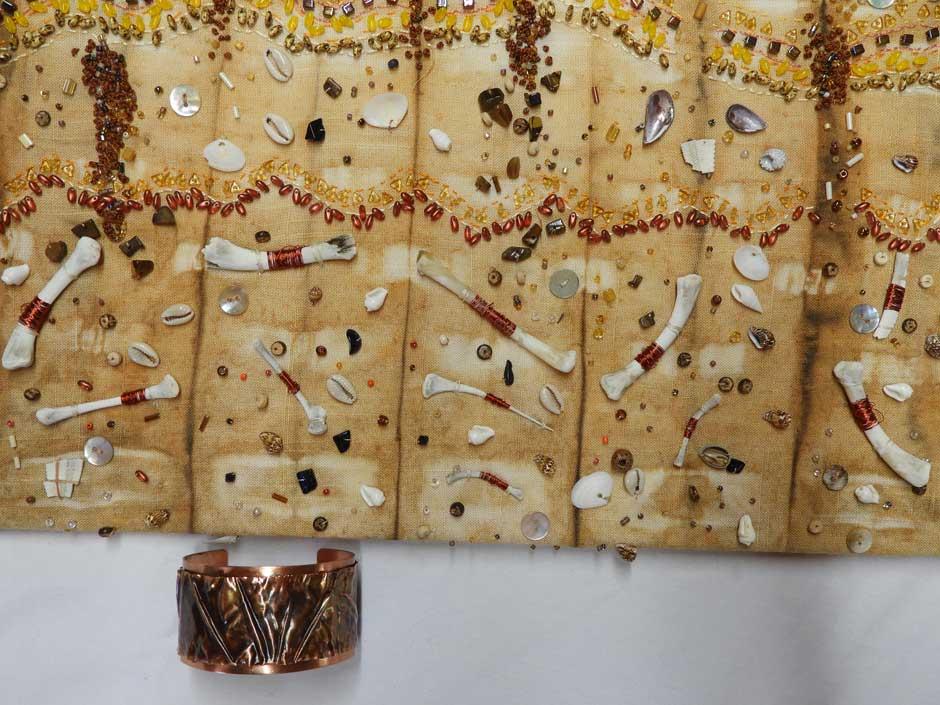 Textile-wall-piece-by-Roza-Brinkworth-copper-cuff-by-Prue-Quarmby